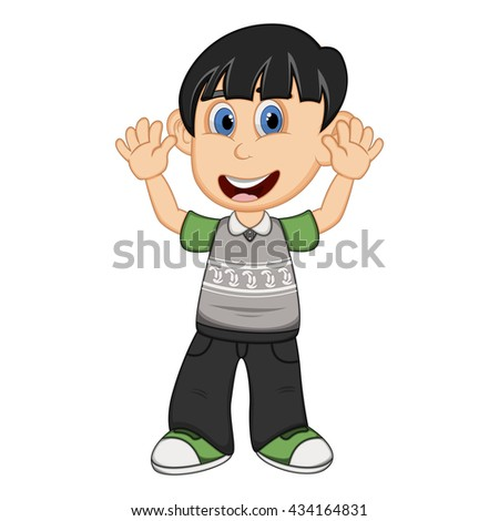 Children waving his hand wearing grey short sleeve sweater and black trousers cartoon - stock photo
