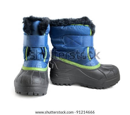 Children winter boot on a white background - stock photo
