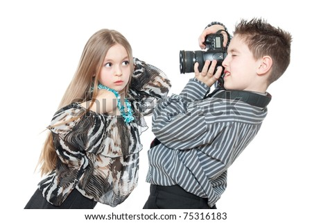 children with a camera isolated on white