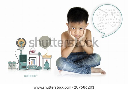 Children with a science experiment with a white background. - stock photo