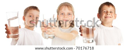 Children with a water glass isolated on white - stock photo