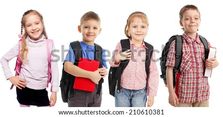 Children with backpack isolated on white - stock photo