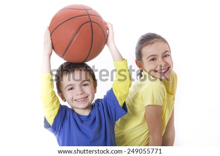 children with basketball - stock photo