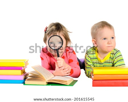 children with books isolated on white background - stock photo