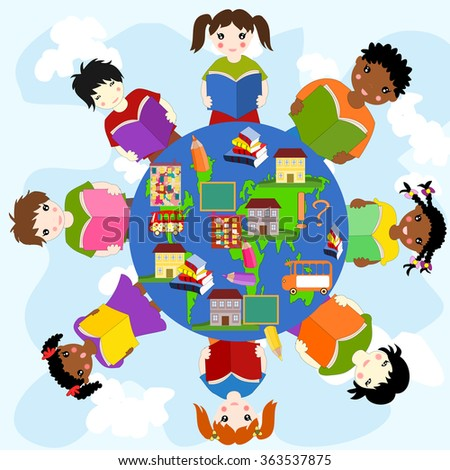 Children with books of different races in a circle, concept of education - stock photo