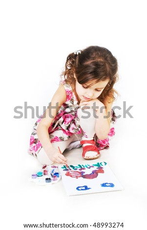 Children with brushes - stock photo