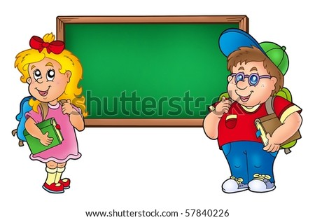 Children with chalkboard 1 - color illustration. - stock photo