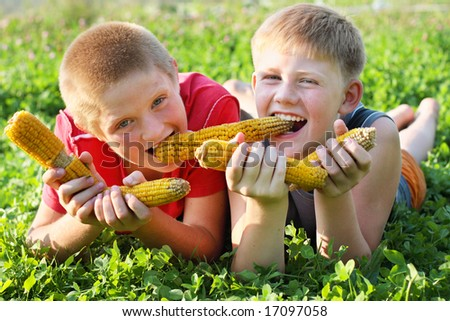 children with corn