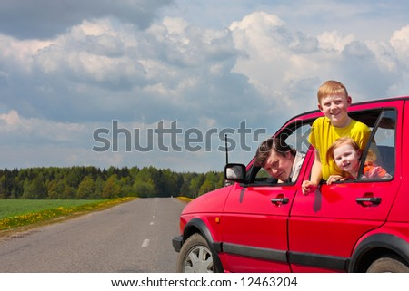 children with father in car - stock photo