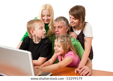 children with father surfing the net isolated on white background - stock photo