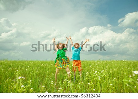 children with flower - stock photo