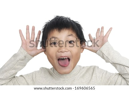 children with funny expression gesture - stock photo