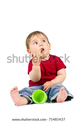 Children with green toothbrush and cup, isolated on white. - stock photo