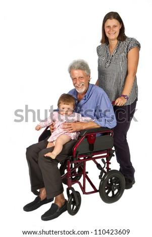 children with handicap Grandfather in wheelchair - stock photo