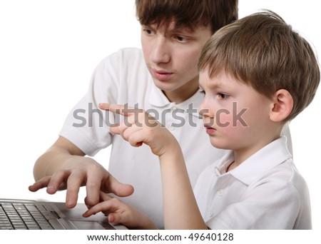 Children with laptop - stock photo