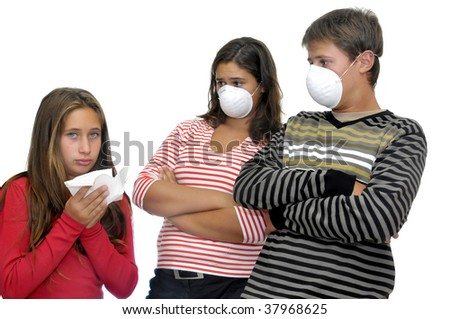 Children with masks against flu, and a sick one isolated - stock photo