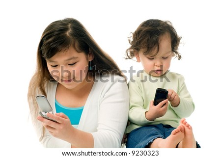 Children with mobile phones,isolated on a white background.