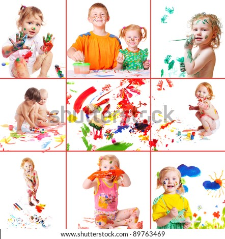 children with paint - stock photo
