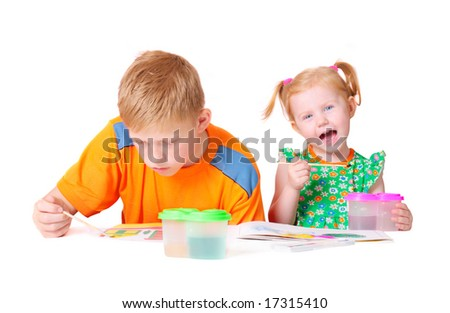 children with paint isolated on white