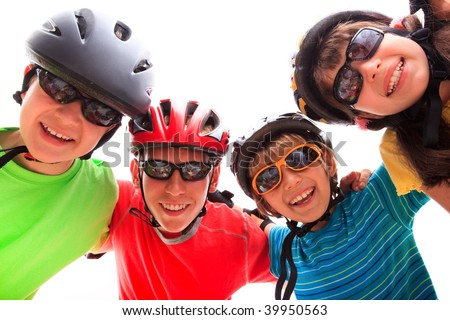 Children with protective gear - stock photo