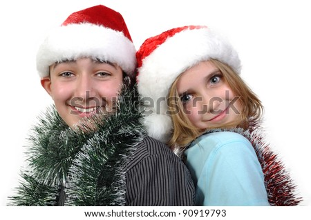 children with Santa hats  having fun and posing