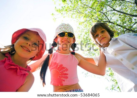 Children with smile - stock photo