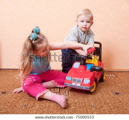 children with toy - stock photo