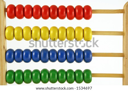 childrens abacus - calculator with all beads at one side - stock photo