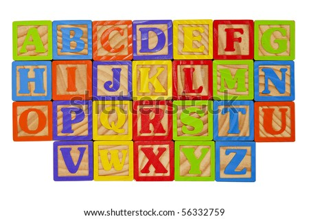 Childrens Alphabet Blocks of the whole alphabet in Capital Letters - stock photo
