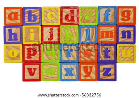 Childrens Alphabet Blocks of the whole alphabet in Lower case letters