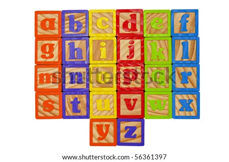 Childrens Alphabet Blocks of the whole alphabet in Lower case letters - stock photo