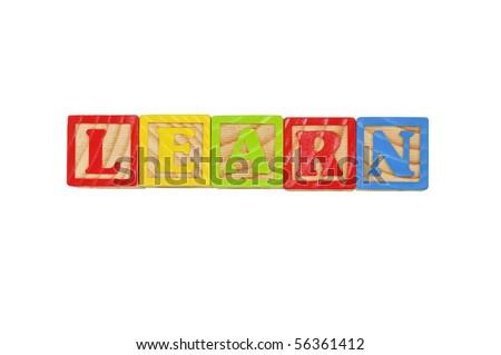Childrens Alphabet Blocks spelling the word Learn - stock photo