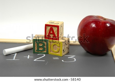 Childrens Blocks and Black Board
