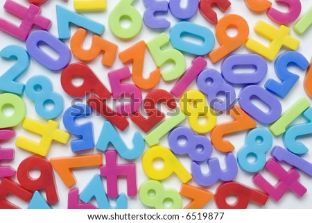 Childrens brightly colored number fridge magnets