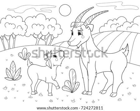 Childrens Cartoon Coloring Book Farm Animals Stock Illustration ...