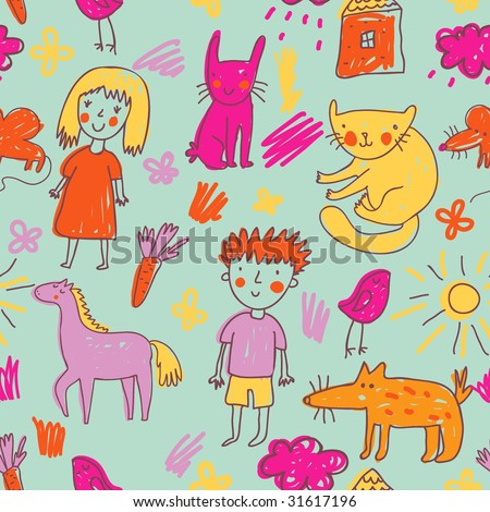Childrens drawing - stock photo