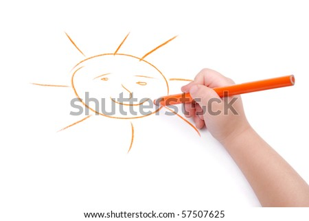 Childrens hand with pencil draws the sun, isolated - stock photo
