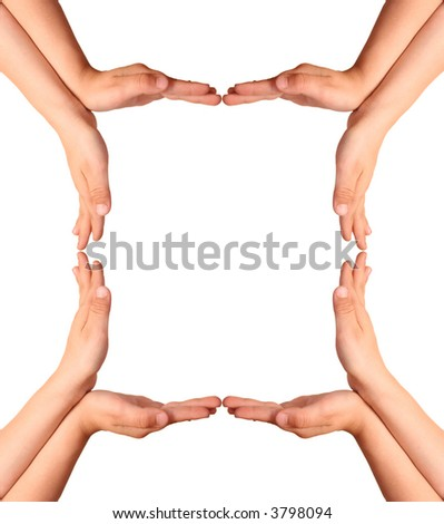 childrens hands house gesture