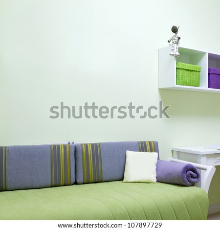 Childrens living room interior - stock photo