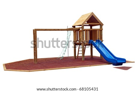 Childrens play equipment isolated with clipping path - stock photo