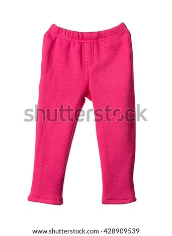 Childrens red pants. Isolated on the white background.