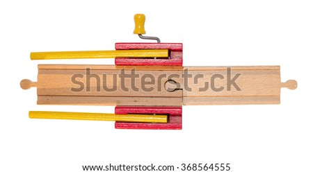 Childrens toy, wooden train track, isolated on white - stock photo