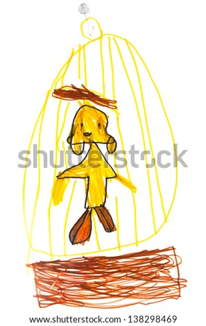childs drawing - yellow bird in golden cage - stock photo