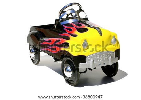 "childs generic metal pedal car ""isolated on white"" - stock photo"
