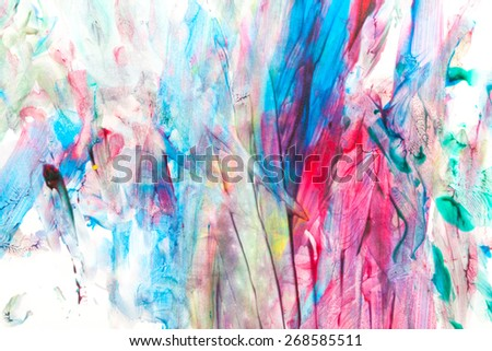 Childs painting - abstract colorful lines and spots