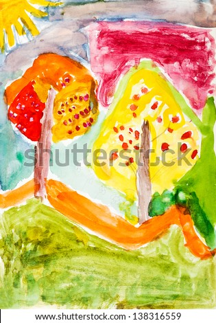 childs painting - yellow trees in autumn forest - stock photo