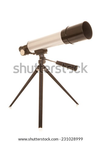 childs silver toy telescope cutout - stock photo
