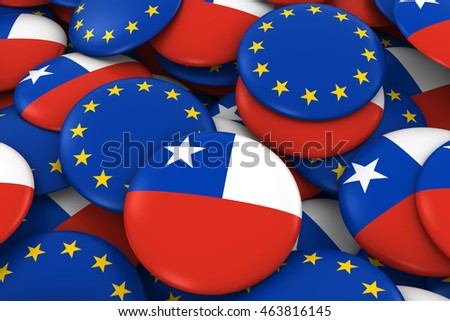 Chile and Europe Badges Background - Pile of Chilean and European Flag Buttons 3D Illustration