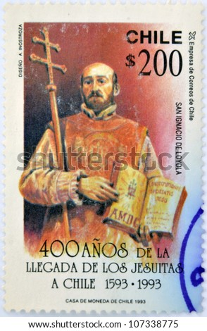 CHILE - CIRCA 1993: A stamp printed in chile commemorates the 400 years since the arrival of the Jesuits in Chile, shows St. Ignatius of Loyola, circa 1993