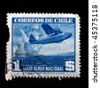 CHILE - CIRCA 1941: A stamp printed in Chile shows airplane, circa 1941 - stock photo